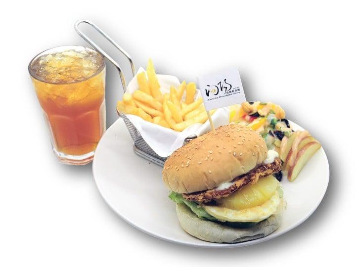 鮮蝦鳳梨套餐-向陽晨間飲食館五館 淡大店