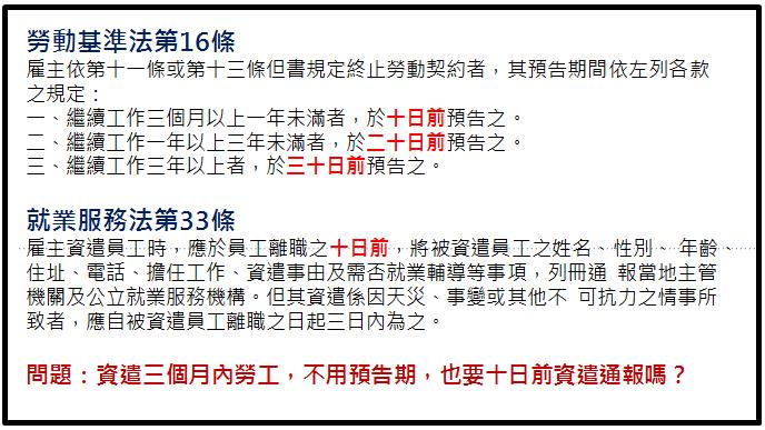 『曹新南專欄』資遣未滿三個月員工,不要預告期,仍要10天前資遣通報嗎?-名師好文