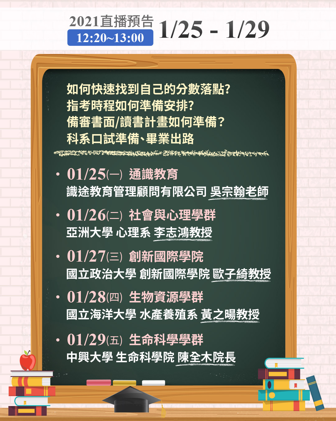 1111【落點分析教戰守策】講座 1/25-29直播預告-面試
