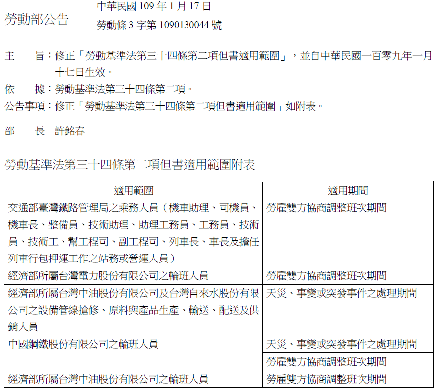 勞動部公告:修正「勞動基準法第三十四條第二項但書適用範圍」自109年1月17日生效-一例一休
