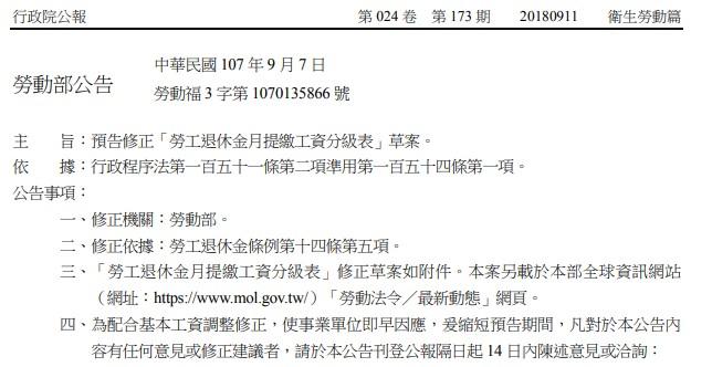 勞動部預告修正勞保、勞退分級表-人編