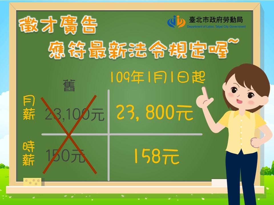 109年基本工資調漲,刊登徵才廣告時要注意什麼呢?|台北市政府勞動局-HR