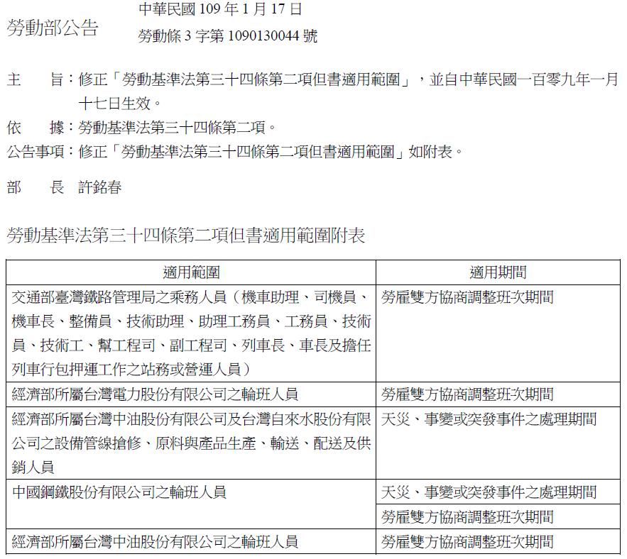 勞動部公告:修正「勞動基準法第三十四條第二項但書適用範圍」自109年1月17日生效-HR